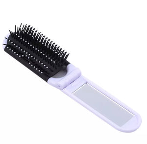 Compact Travel Hair Brush And Mirror - White