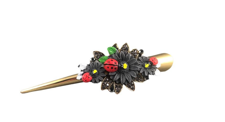 Concord Hair Clip - Black Sunflower