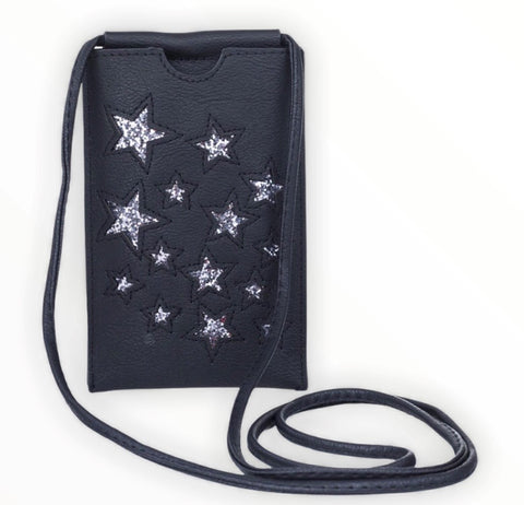 Mobile phone bag with stars - Black