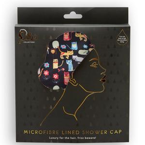 Microfibre Lined Shower Cap - Cat Print