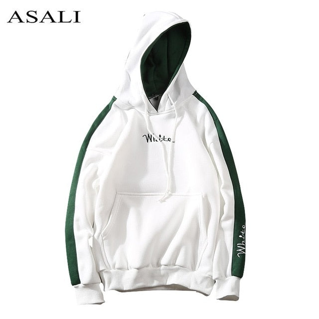 WHITE Casual Pullover Hoodie