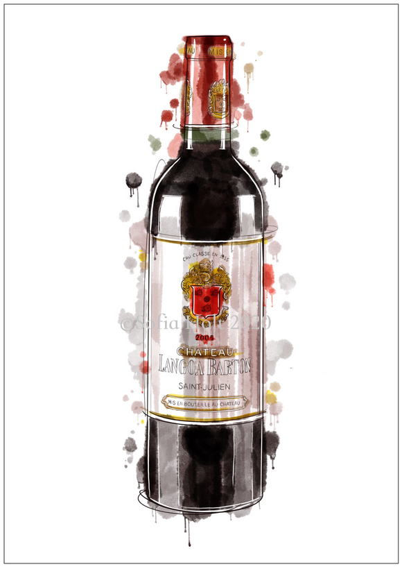 Limited edition bottle print - Chateau Langoa Barton, Saint-Julien