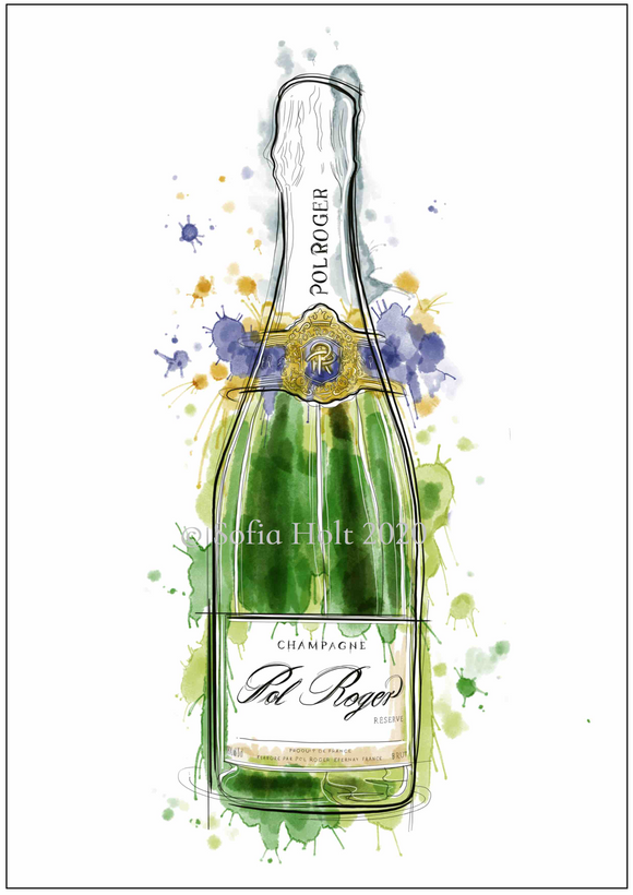 Limited edition bottle print - Champagne Pol Roger 'White Foil'