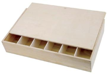 Six bottle flat wooden gift box