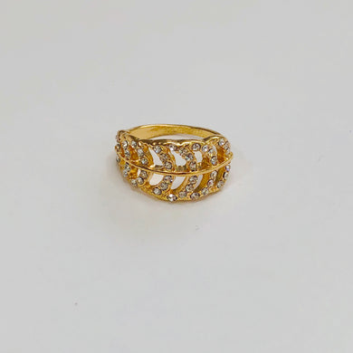 Diamond Studded Leaf Ring