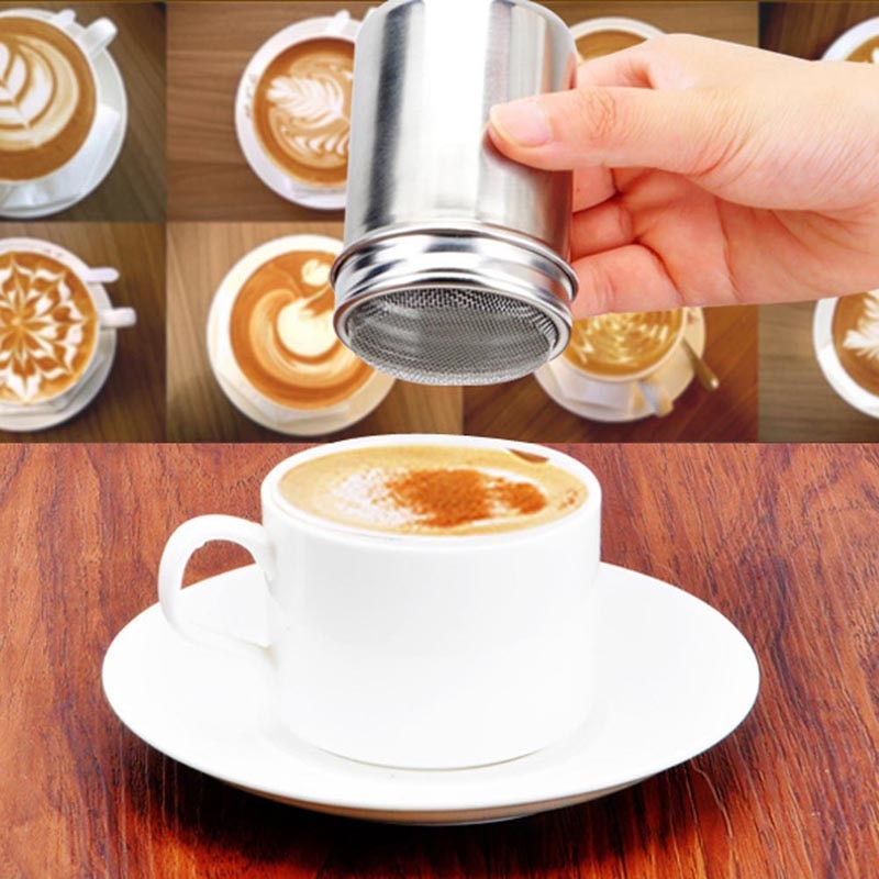 1Pcs Stainless Steel Chocolate Sugar Shaker Coffee Dusters Cocoa Powder Cinnamon Dusting Tank Kitchen Filter Cooking Tool