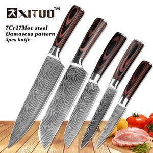 Stainless Steel Blades Damascus Laser Chef Knife Sets