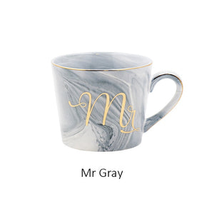 Handpainted Gold Monogram Natural Marble Porcelain Coffee Mug Mr and Mrs Tea Milk Cups and Mugs Creative Wedding Gift