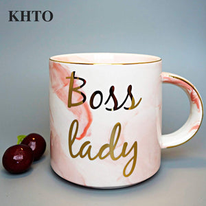 KHTO  Gold Monogram Natural Marble Porcelain Coffee Mug Boss Lady Mugs Tea Milk Cups and Mugs Creative Wedding Gift