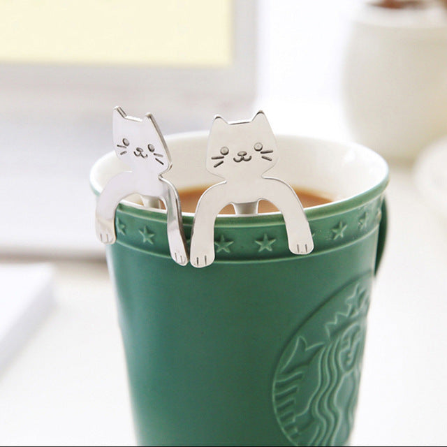 1 Piece Cute Cat Spoon Long Handle Spoons