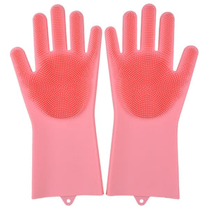 Kitchen Silicone Cleaning Gloves Magic Silicone Dish Washing Gloves Easy Household Silicone Scrubber Rubber Cleaning Gloves