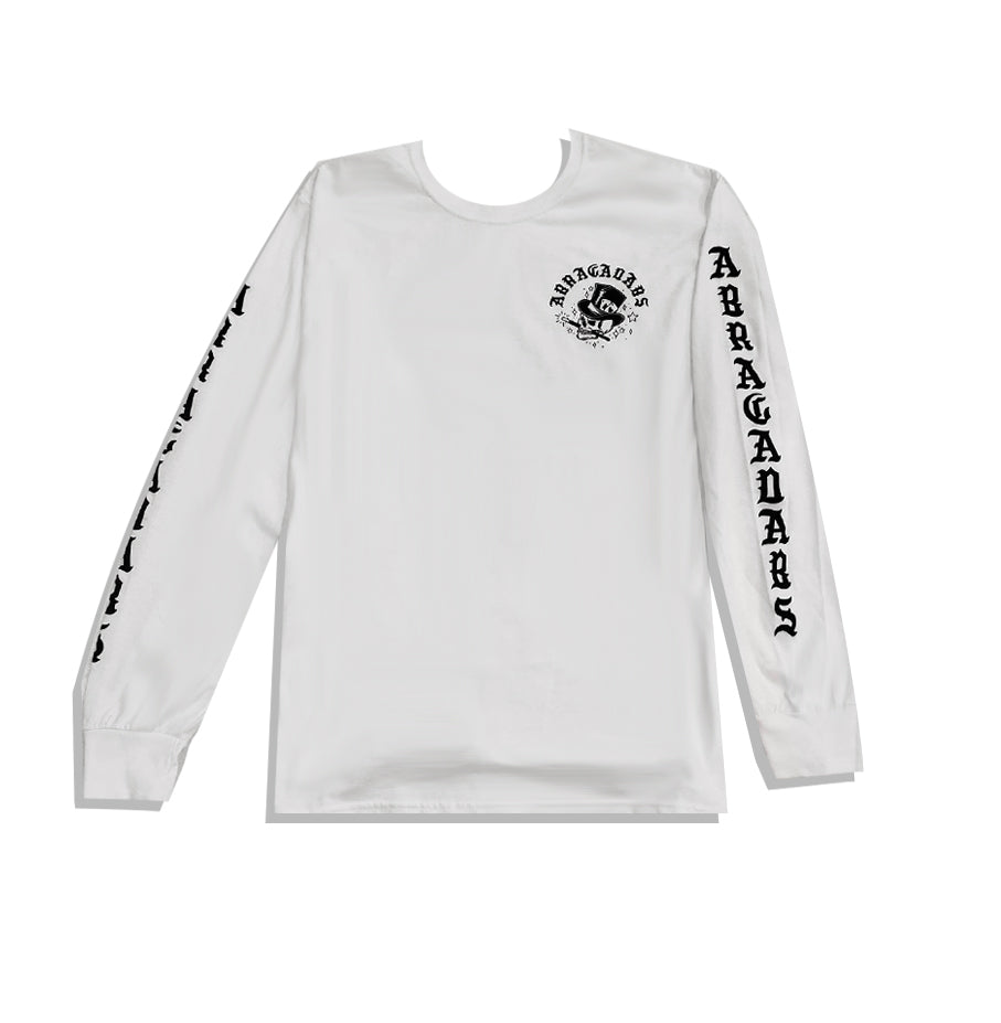 Abracadabs Skull Top Hat White Long Sleeve - ABRACADABS