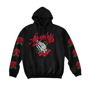 Abracadabs Rose Praying Skull Hands Black Hoodie - ABRACADABS