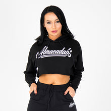 Load image into Gallery viewer, Abracadabs Womens Cropped Fleece Black Hoodie - ABRACADABS
