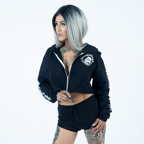 TOP SELLER! ACD WOMANS SKULL CROP HOODIE