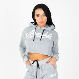 Abracadabs Womens Cropped Fleece Ash Grey Hoodie - ABRACADABS
