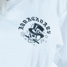 Load image into Gallery viewer, Abracadabs Woman's Skull Crop White Long Sleeve Tee - ABRACADABS