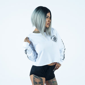 Abracadabs Woman's Skull Crop White Long Sleeve Tee - ABRACADABS