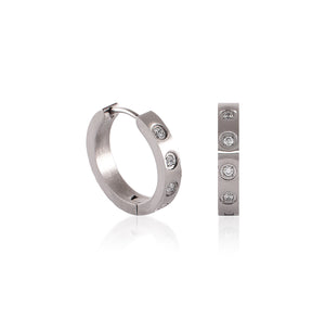 B.Tiff Pave 8-Stone Hoop Earrings