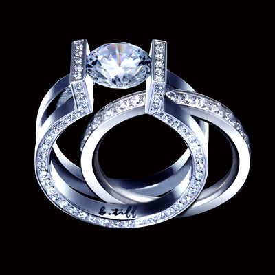 B.Tiff 2 ct Round Solitaire Interlocking Engagement Ring & Eternity Band Set