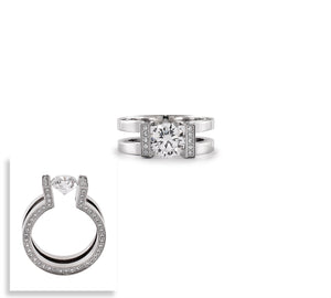 B.Tiff 2 ct Round Solitaire Interlocking Engagement Ring