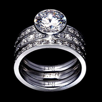 B.Tiff 2 ct Solitaire Pave Engagement Ring & Eternity Bands Set