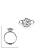 B.Tiff Aŭreolo 2 ct Round Halo Engagement Ring