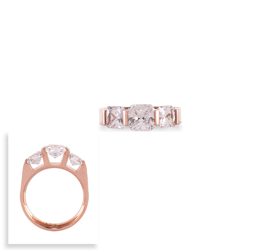 B.Tiff 3-Stone Cushion Cut Engagement Ring
