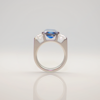 B.Tiff 3-Stone 3 ct Blue Emerald Cut Engagement Ring