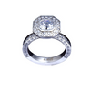 B.Tiff Aŭreolo II 1 ct Cushion Cut Halo Engagement Ring & Three-Row Eternity Band Set