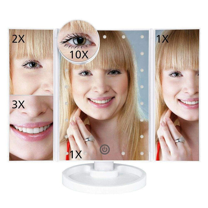 Hollywood Style LED Touch Makeup Mirror - White - Home