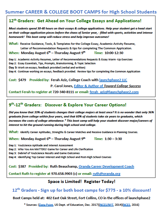 Summer Career and College Boot Camp in Fort Collins! – Oranda