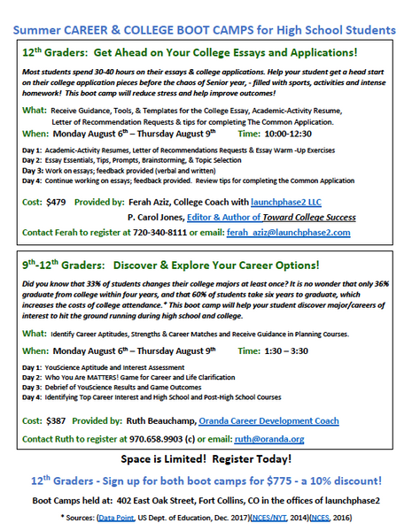 Summer Career and College Boot Camp in Fort Collins!