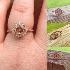 Morganite Engagement Ring Round Cut Morgnaite 10k Rose Gold Morganite