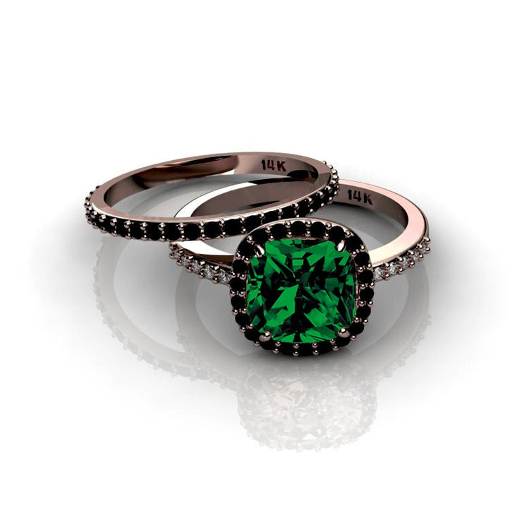 2.00 carat Emerald and Black Moissanite Diamond Halo Bridal Set in 10k Rose Gold