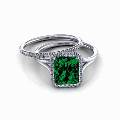 2.00 carat Emerald Cut Emerald and Moissanite Diamond Halo Bridal Set in 10k White Gold