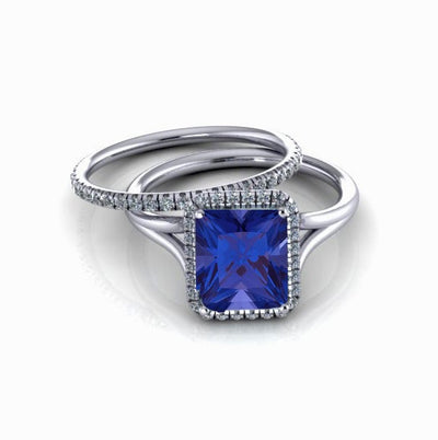 2.00 carat Emerald Cut Sapphire and Moissanite Diamond Halo Bridal Set in 10k White Gold