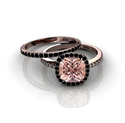 2.00 carat Morganite Ring with Black diamond Halo Bridal Set in 10k Rose Gold