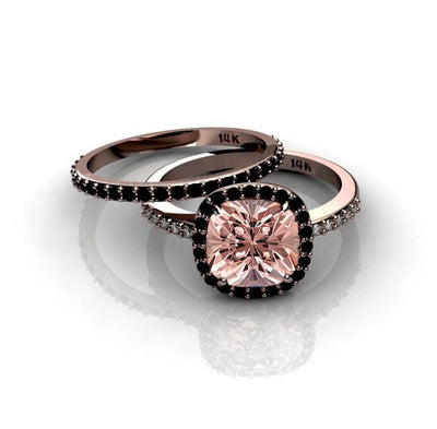 2.00 carat Morganite Ring with Black diamond Halo Bridal Set