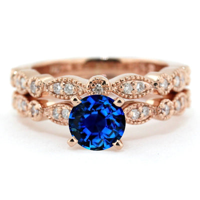 2.00 carat Round Cut Sapphire and Moissanite Diamond Halo Bridal Set in 10k Rose Gold
