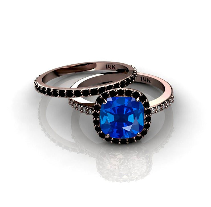2.00 carat Sapphire and Black Moissanite Diamond Halo Bridal Set in 10k Rose Gold