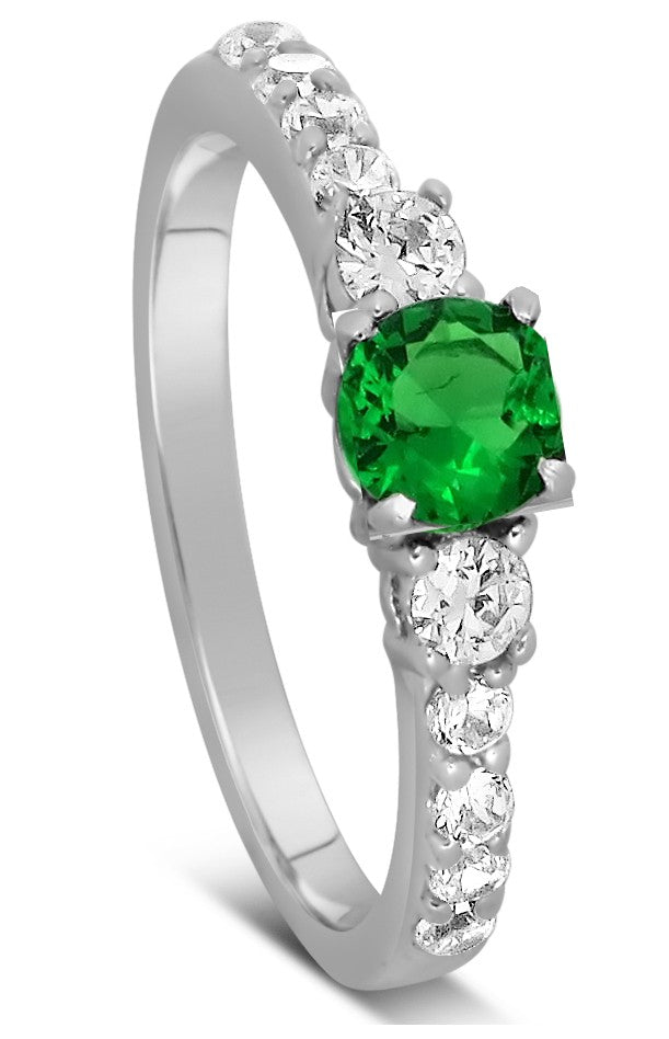 1 Carat Emerald and Moissanite Diamond Engagement Ring in Gold