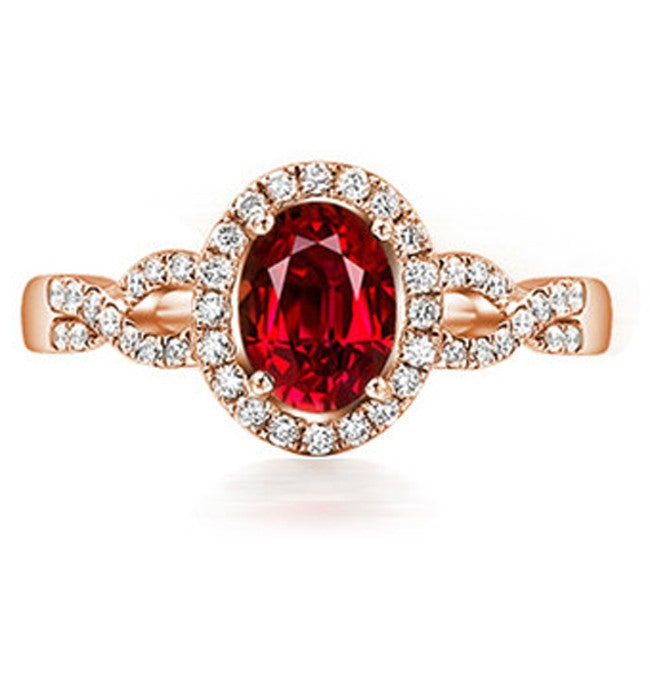 1 Carat Halo Ruby and Moissanite Diamond Engagement Ring in Rose Gold