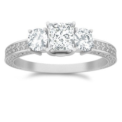 Antique Moissanite Engagement Ring 1.25 Carat Princess Cut Moissanite on 10k White Gold