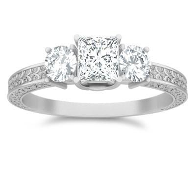 Antique Moissanite Engagement Ring 1.25 Carat Princess Cut Moissanite