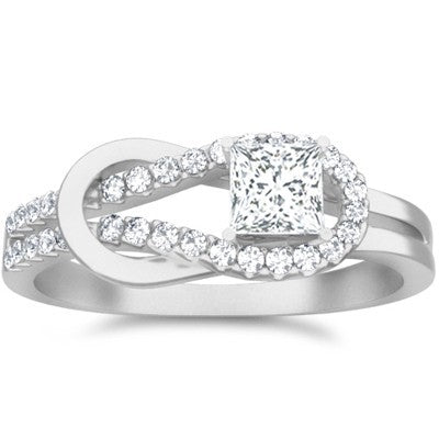 Mesmerizing Moissanite Wedding Ring 1.25 Carat Princess Cut Moissanite Diamond on 10k White Gold