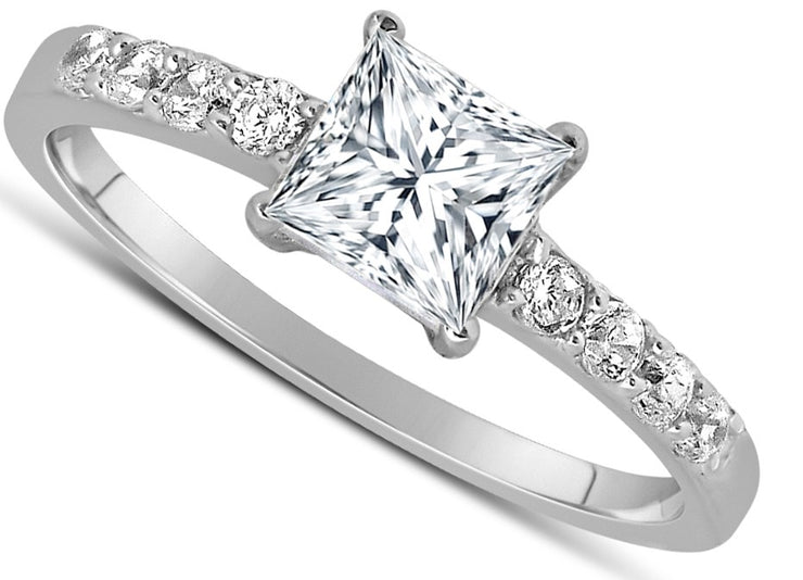 1.50 Carat Princess cut Diamond Ring Moissanite Engagement Ring in 10K White Gold