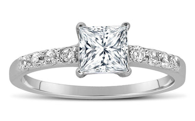 1.50 Carat Princess cut Diamond Ring Moissanite Engagement Ring