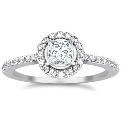 Halo Moissanite Ring 1.50 Carat Princess Cut Moissanite Diamond
