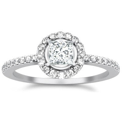 Halo Moissanite Ring 1.50 Carat Princess Cut Moissanite Diamond on 10k White Gold